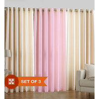 Deal Wala Pack Of 2 Cream And 1 Light Pink Eyelet Door Curtain