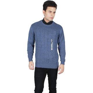 KOTTY Blue Long Sleeve Round Neck Sweater for Men