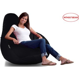 Story@Home Black Faux Leather Bean Bag Cover XL