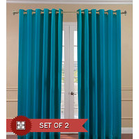 Deal Wala Set Of 2 Attractive Plain Door Curtain-blue