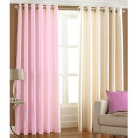 Deal Wala Pack Of 1 Cream And 1 Light Pink Eyelet Door Curtain