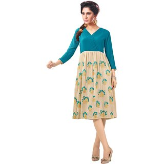 Kryptos Online Beige And Blue Colored Georgette Kurti.