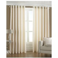 Deal Wala Pack Of 2 Attractive Plain Eyelet Door Curtain-light Cream