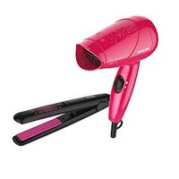Philips HP8643/46 Ms Fresher Essential Dryer and Straightener (Pink/Black)