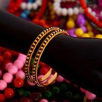 Black and golden beads bangles set of 2 bangle