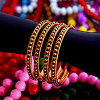 Black and golden beads bangles set of 4 bangle