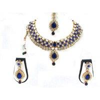 Dark Blue Stone Kundan Dulhan Necklace Set