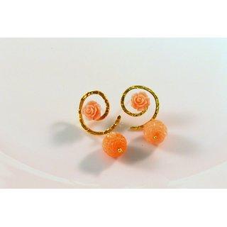 Vastradi Comely Golden Brass Drop Earrings