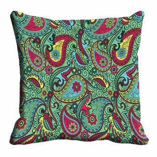 meSleep Green Paisley Cushion Cover (12x12)