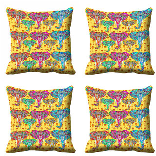 meSleep Multi Colour Ethnic Elephant Cushion Cover (20x20)