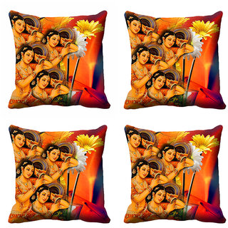 meSleep Multi Colour Floral Lady's Cushion Cover (12X12)