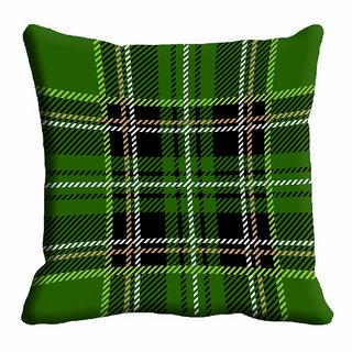 meSleep Green Checks Cushion Cover (20x20)