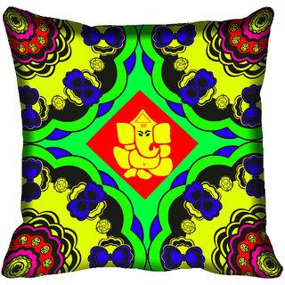 meSleep Ganesha Design Digital Printed Cushion Cover 18x18