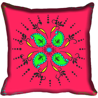 meSleep Pink Circle Design Digital Printed Cushion Cover 18x18