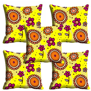 meSleep Yellow Floral Cushion Cover (12x12)