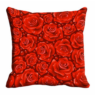 meSleep Red Rose Cushion Cover (20x20)