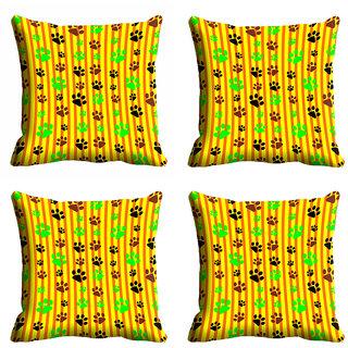 meSleep Yellow Footprint Cushion Cover (18x18)