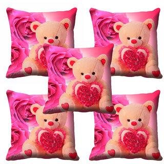 meSleep 3D Beautiful Teddy Cushion Cover (18x18)