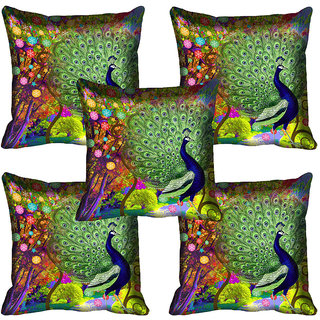 meSleep Peacock Digital Printed Cushion Cover (18x18)