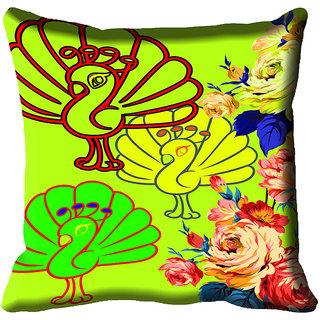 meSleep Beautiful Peacock Digital Printed Cushion Cover 20x20