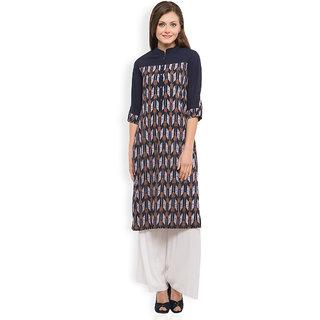 Vishudh Blue Printed Polyester Stitched Kurti