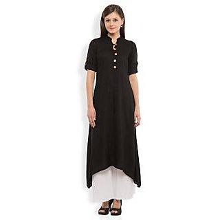 Vishudh Black Plain Rayon Stitched Kurti