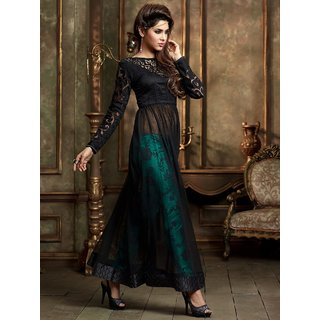 RapidDukan Semi-Stitched Black Color Printed Anarkali Salwar Suit Dupatta MaterialsSF830