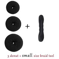 Majik Pack Of 3 Hair Donuts  All 3 Different Sizes + 1 Small Size Woman Hair Accessories Bun Hair Styling Tools
