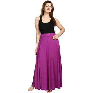Be You Fashion Women Serena Satin Magenta Plain Long Skirt