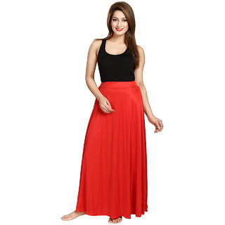 Be You Fashion Women Serena Satin Red Plain Long Skirt