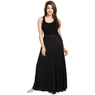 Be You Fashion Women Serena Satin Black Plain Long Skirt