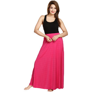 Be You Fashion Women Serena Satin Pink Plain Long Skirt