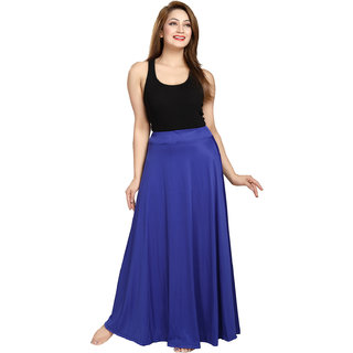 Be You Fashion Women Serena Satin Blue Plain Long Skirt