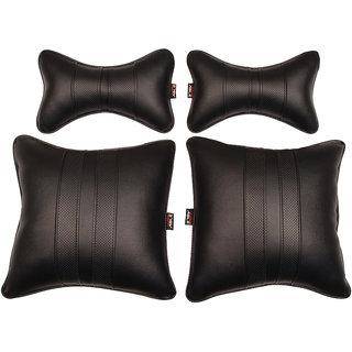 Able Sporty Kit Seat Cushion Neckrest Pillow Black For MAHINDRA KUV 100 Set of 4 Pcs