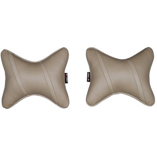Able Sporty Neckrest Neck Cushion Neck Pillow Beige For SKODA FABIA Set of 2 Pcs