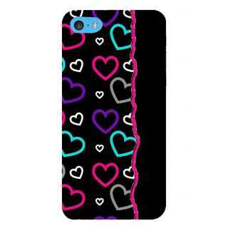 Snapdilla Black Background Multi Coloured Love Little Hearts Simple Designer Case For Apple IPod Touch 6