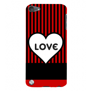 Snapdilla Black And Red Stripes Pattern Simple Trendy Heart Shaped Love Quote Smartphone Case For Apple IPod Touch 5