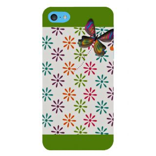 Snapdilla Multi Colored Flower Pattern White Background Green Color Mobile Cover For Apple IPod Touch 6