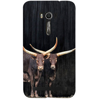 Snapdilla Good Looking Black Background Cows With Calf Design Cell Cover For Asus Zenfone Go ZC500TG