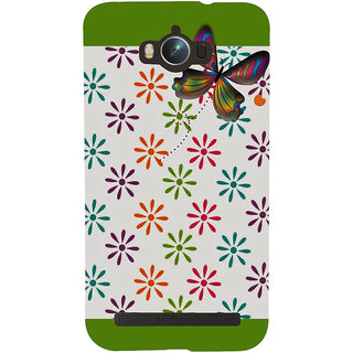 Snapdilla Multi Colored Flower Pattern White Background Green Color Mobile Cover For Asus Zenfone Max ZC550KL :: Asus Zenfone Max ZC550KL 2016 :: Asus Zenfone Max ZC550KL 6A076IN