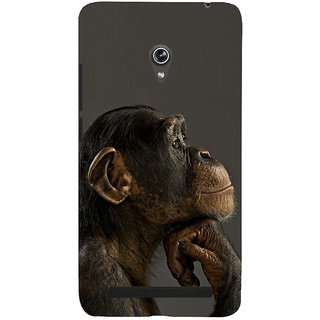 Snapdilla Black Background Chimapnzee Thinking Monkey Wild Life Emotions Cell Cover For Asus Zenfone 6 A600CG