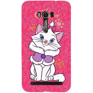Snapdilla Pink Floral Pattern Background Funny Cute Queen Marie Cat Phone Case For Asus Zenfone Go ZC500TG