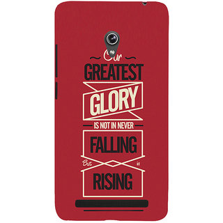 Snapdilla Red Background Our Greatest Glory Is In Rising Every Time We Fall Motivational Quote Mobile Pouch For Asus Zenfone 6 A600CG