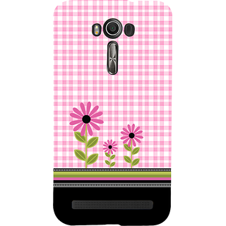 Snapdilla Pink Background Checks Pattern Cute Pink Flowers Artistic Smartphone Case For Asus Zenfone 2 Laser ZE601KL
