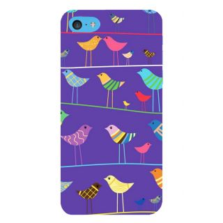 Snapdilla Violet Color Background Artistic Birds Pattern Girly 3D Print Cover For Apple IPod Touch 6