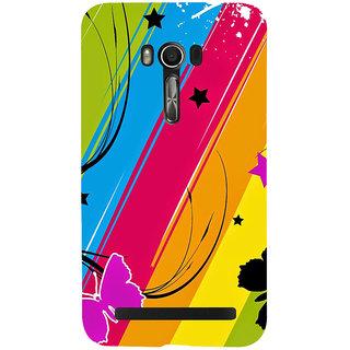 Snapdilla Unique Artistic Modern Art Multi Coloured Background  Stripes Butterfly Smartphone Case For Asus Zenfone Go ZC500TG