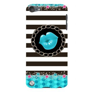 Snapdilla Clipart Black And White Stripes Sexy Hot Blue Lips Funky Crazy Mobile Cover For Apple IPod Touch 5