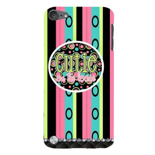 Snapdilla Multi Color Stripes Pattern Cutie On The Loose Quote Cool Mobile Case For Apple IPod Touch 5