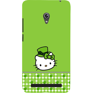 Snapdilla Green Color Background Funky Artistic Hello Kitty Cartoon Best Designer Case For Asus Zenfone 6 A600CG