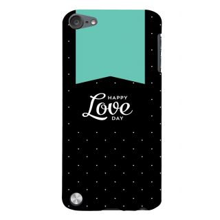 Snapdilla Black Background White Dots Pattern Happy Love Day Designer Case For Apple IPod Touch 5